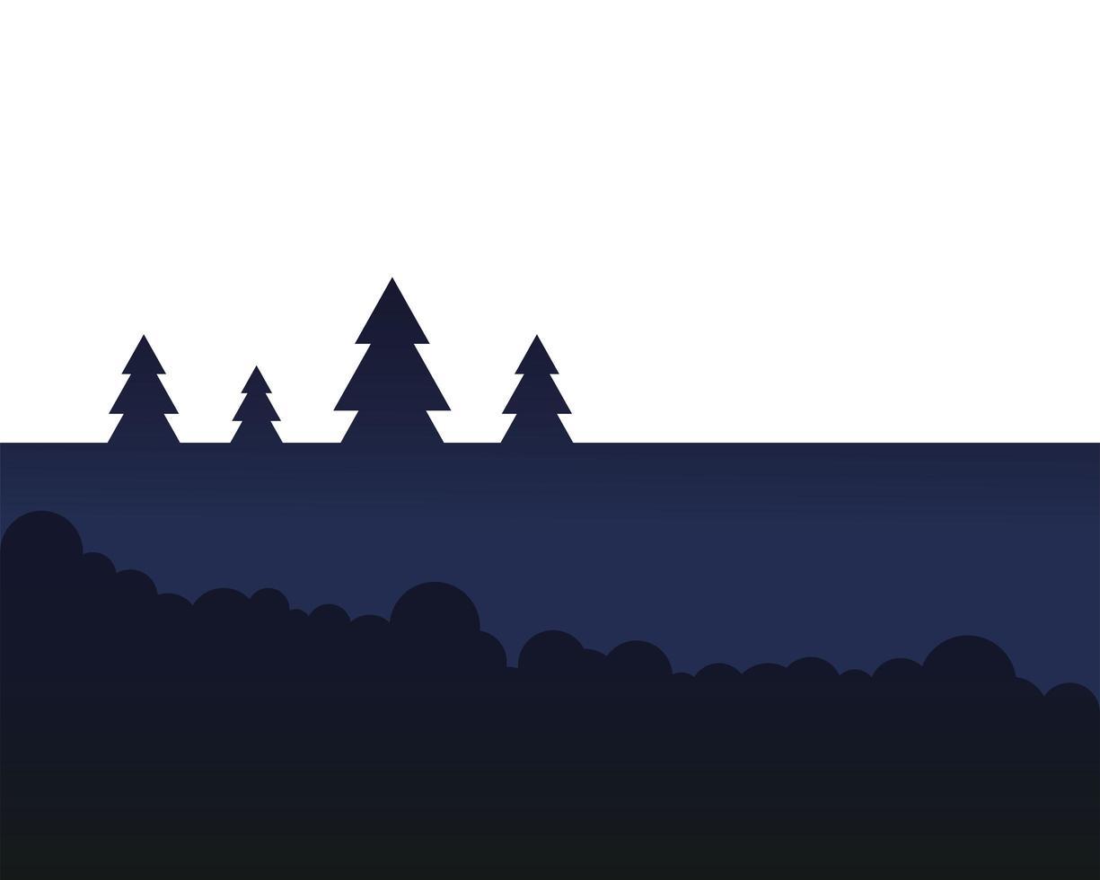 Kiefern mit Sträuchern Landschaftsvektorentwurf vektor