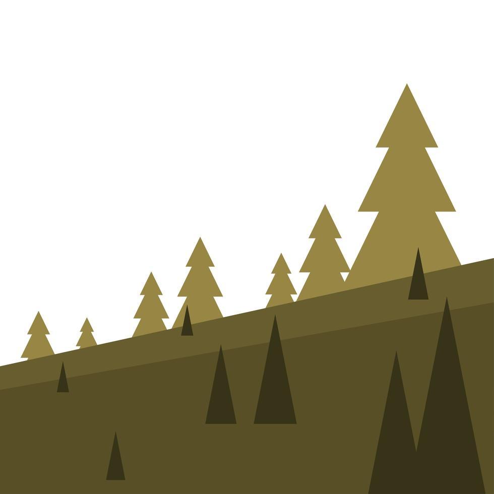 Kiefern auf Bergvektorentwurf vektor