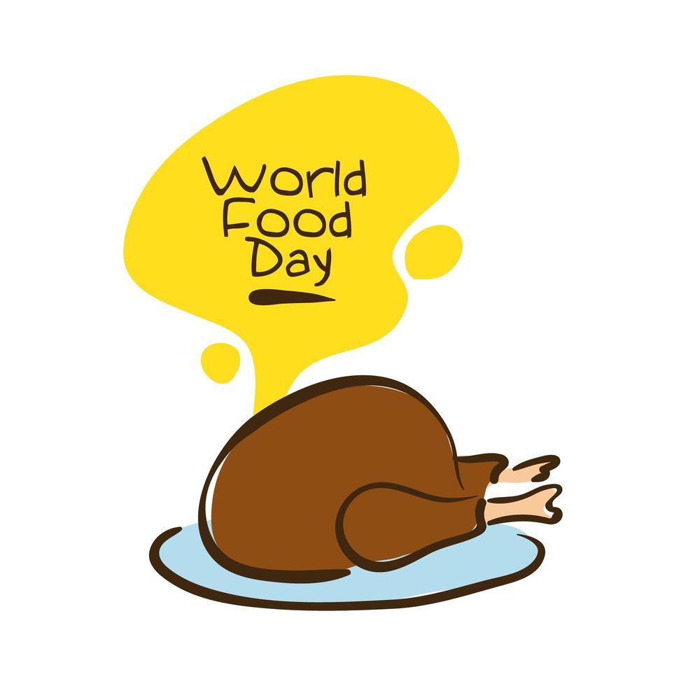 världens matdag firande bokstäver med kalkon platt stil vektor