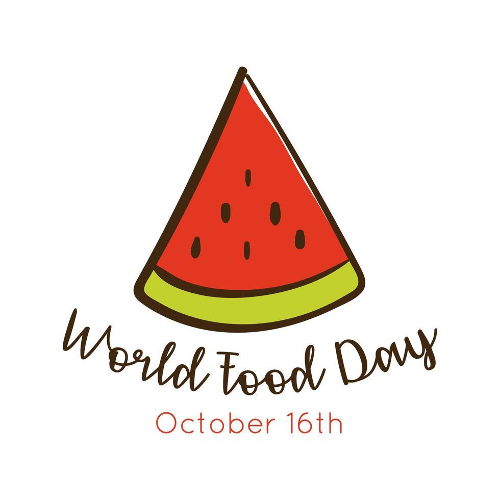Welternährungstag-Feierbeschriftung mit der flachen Wassermelonenart vektor