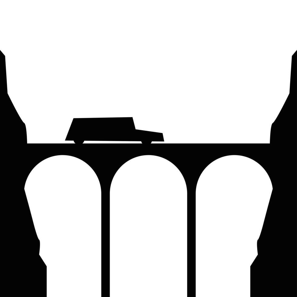 Schattenbildauto auf Brückenvektorentwurf vektor
