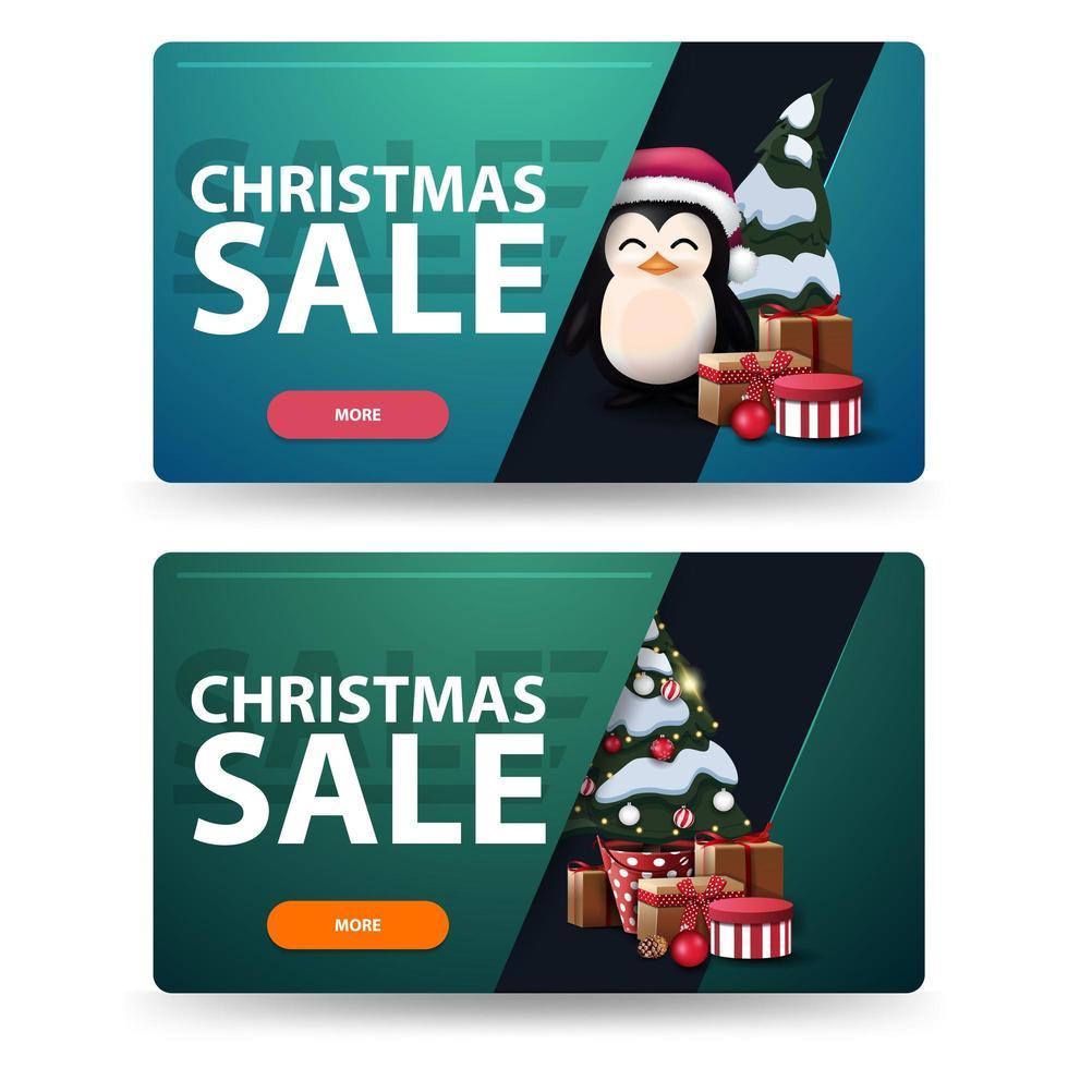 zwei Rabatt-Weihnachtsbanner mit Weihnachtsbaum in einem Topf mit Geschenken und Pinguin im Weihnachtsmannhut mit Geschenken. grüne und blaue horizontale Banner lokalisiert auf weißem Hintergrund vektor