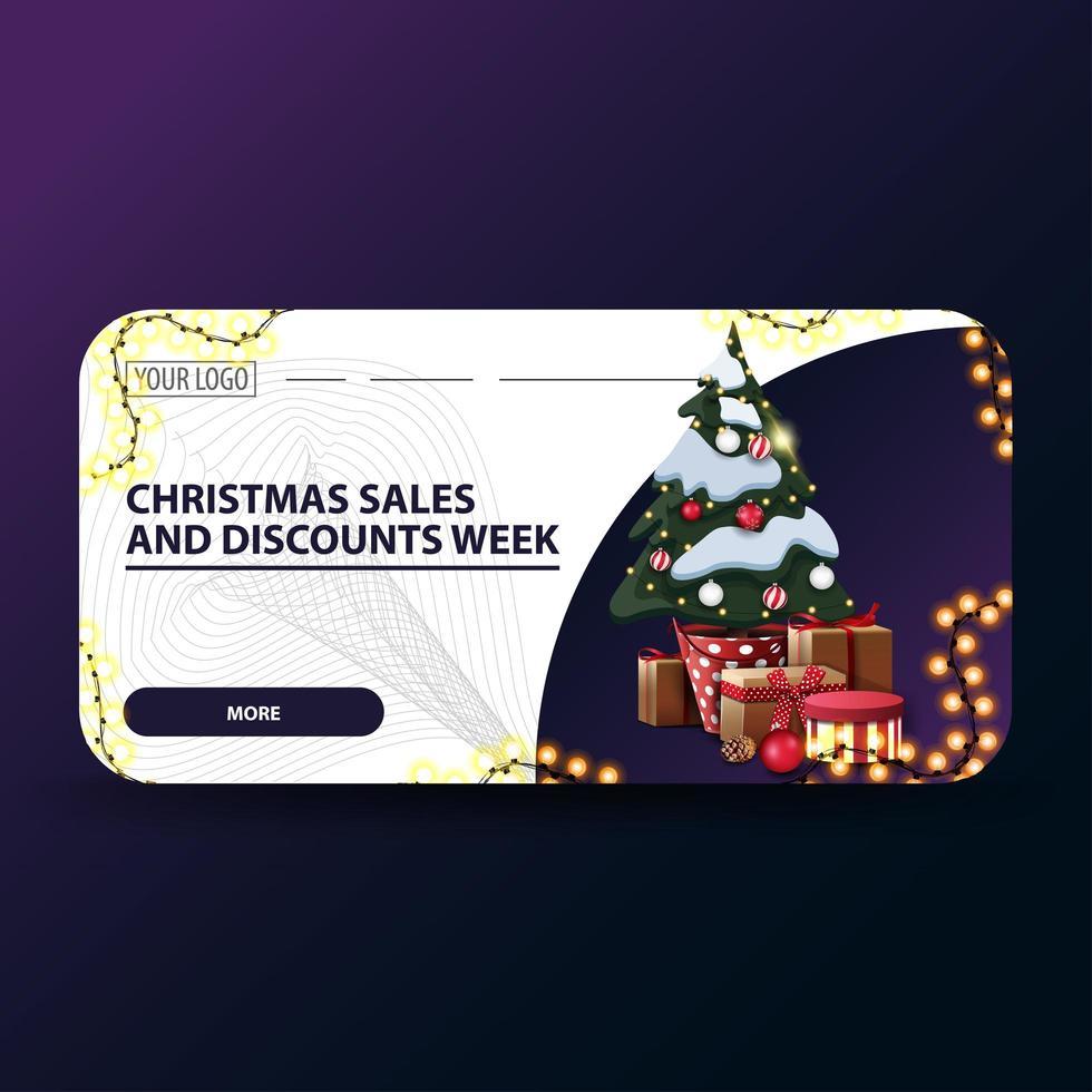 Weihnachtsverkauf und Rabattwoche, weiße moderne Weihnachtsrabattbanner mit abgerundeten Ecken, Girlande und Weihnachtsbaum in einem Topf mit Geschenken vektor