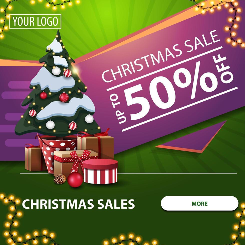 julförsäljning, upp till 50 rabatt, grön och rosa fyrkantig webbbanner med knapp, krans och julgran i en kruka med gåvor vektor