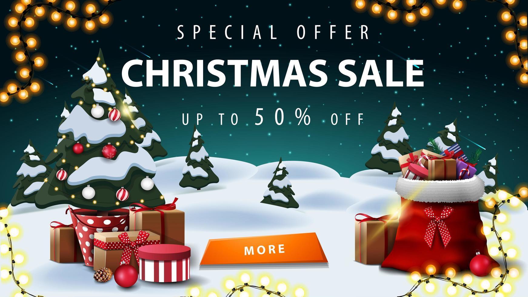 Sonderangebot, Weihnachtsverkauf, bis zu 50 Rabatt, Rabatt Banner mit Winterlandschaft. Sternenhimmel, Girlande, Knopf, Weihnachtsbaum in einem Topf mit Geschenken und Weihnachtsmann-Tasche mit Geschenken vektor