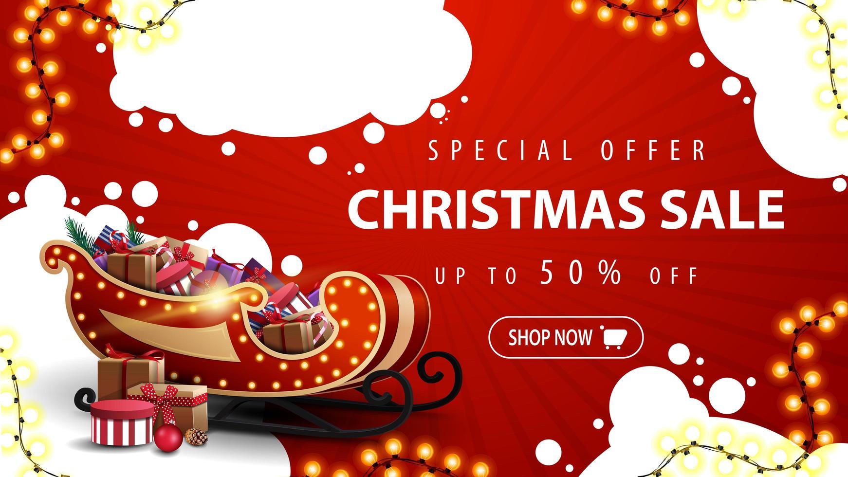 specialerbjudande, julförsäljning, upp till 50 rabatt, röd rabattbanner med vita abstrakta moln, krans, knapp och santa släde med presenter vektor