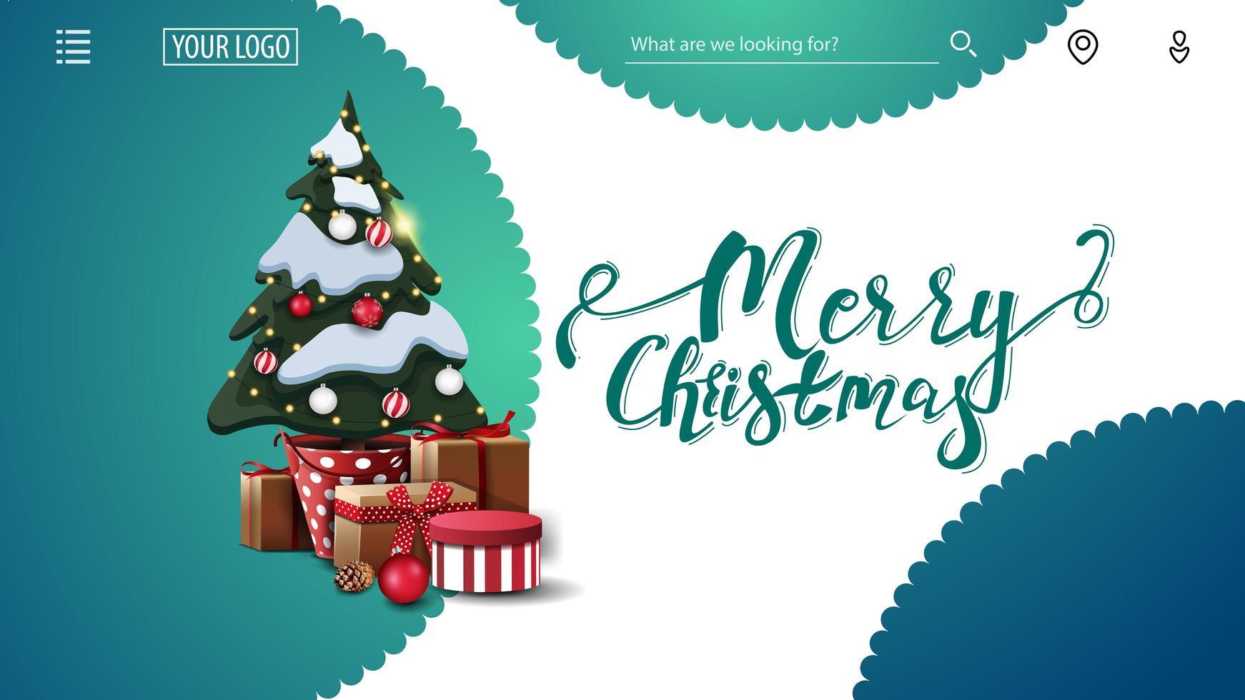 Frohe Weihnachten, grüne und weiße Grußkarte für Website mit dekorativen Kreisen und Weihnachtsbaum in einem Topf mit Geschenken vektor