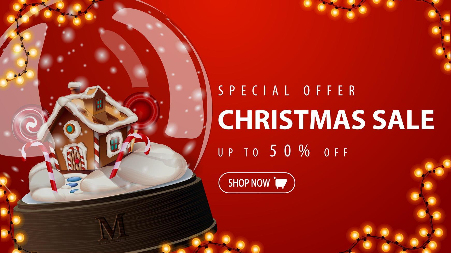 specialerbjudande, julförsäljning, upp till 50 rabatt, röd rabattbanner med stor snöklot med julpepparkakshus inuti vektor