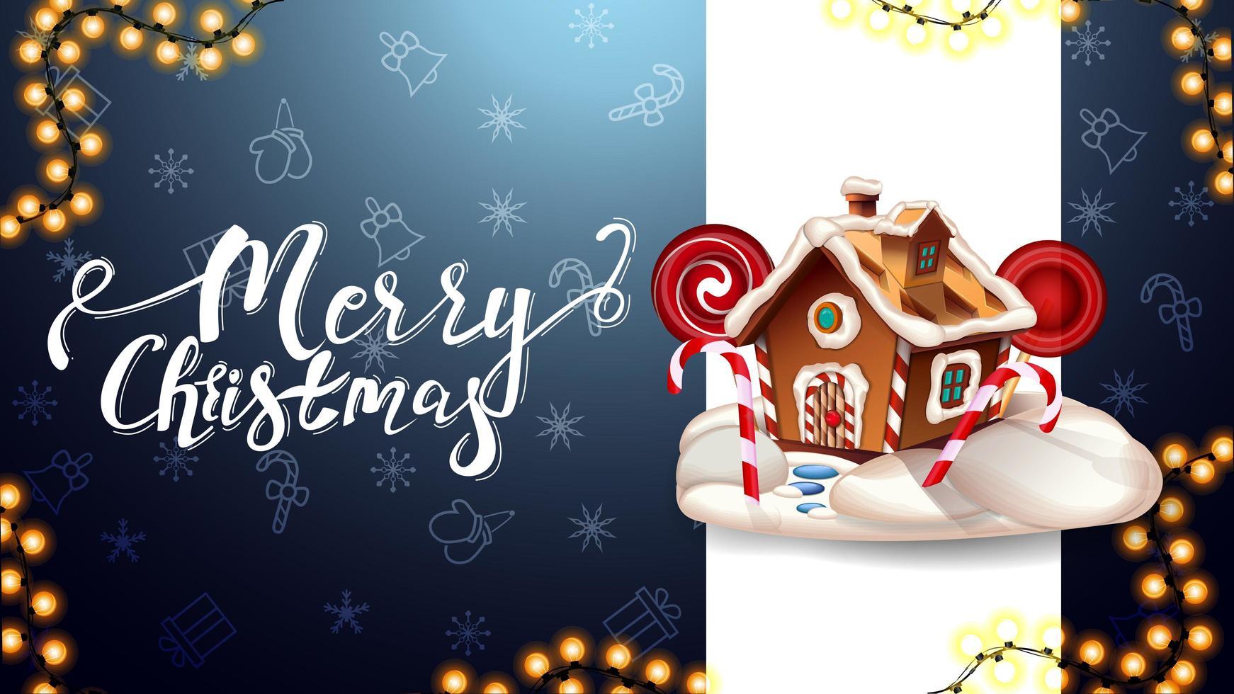 Frohe Weihnachten, blaue Postkarte mit vertikaler weißer Linie, Weihnachtsmuster und Weihnachtslebkuchenhaus vektor