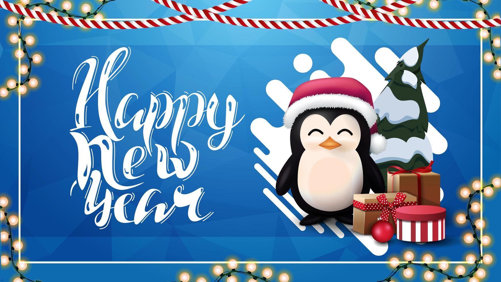 Frohes neues Jahr, blaue Grußkarte mit abstrakter flüssiger Form, Girlande und Pinguin im Weihnachtsmannhut mit Geschenken vektor