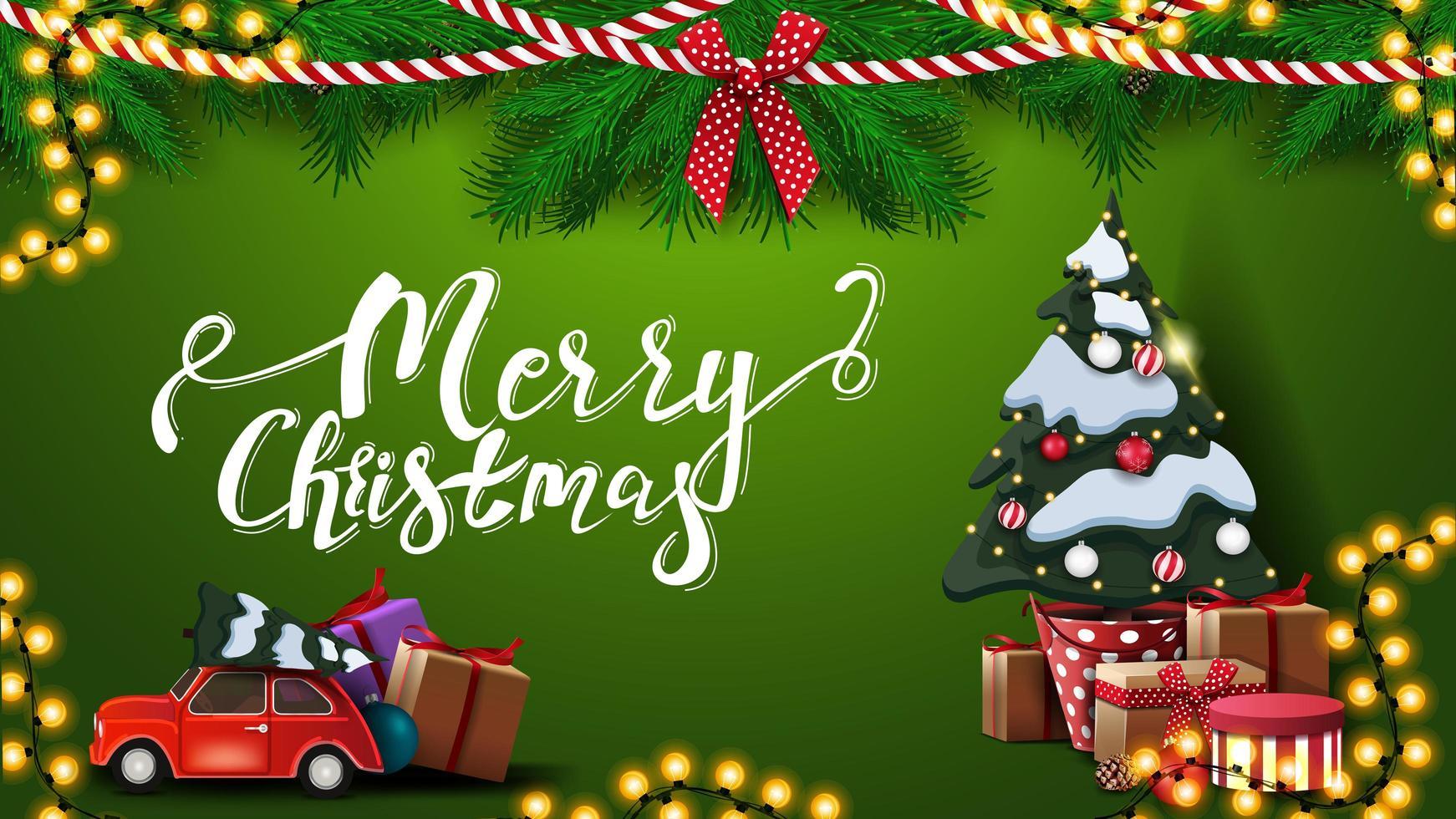 god jul, grönt vykort med krans av grenar av julgranar, kransar, röd veteranbil som bär julgran och stort julgran i en kruka med gåvor vektor