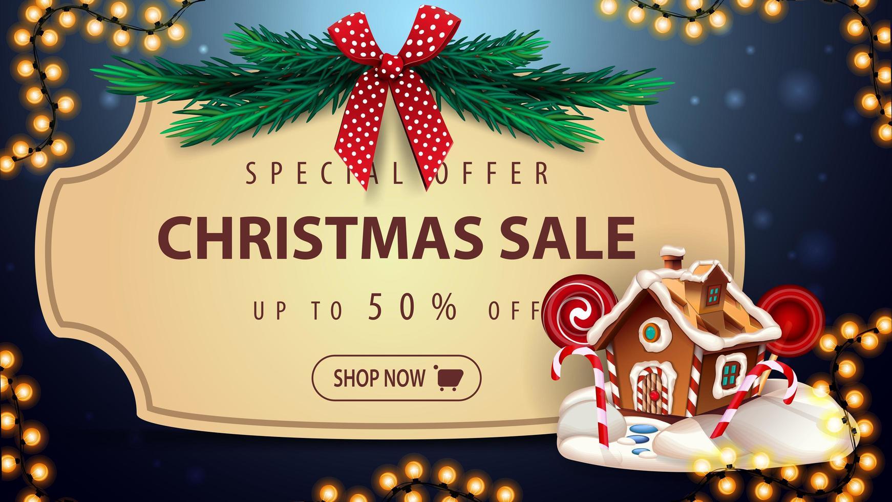 Sonderangebot, Weihnachtsverkauf, bis zu 50 Rabatt, blaues Rabatt-Banner mit Vintage-Rahmen, Weihnachtsbaumzweige mit roter Schleife, Girlande und Weihnachts-Lebkuchenhaus vektor