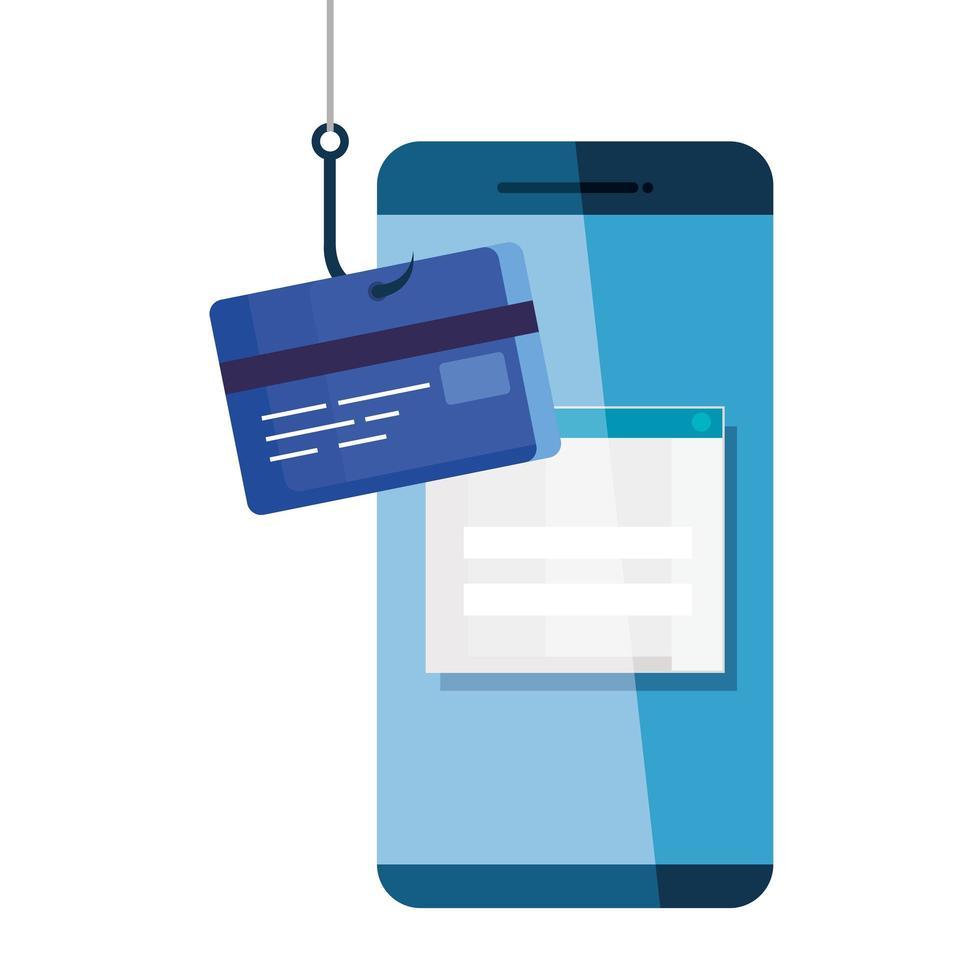 Daten-Phishing-Hacking-Online-Betrugskonzept mit Smartphone- und Kreditkartenhaken vektor
