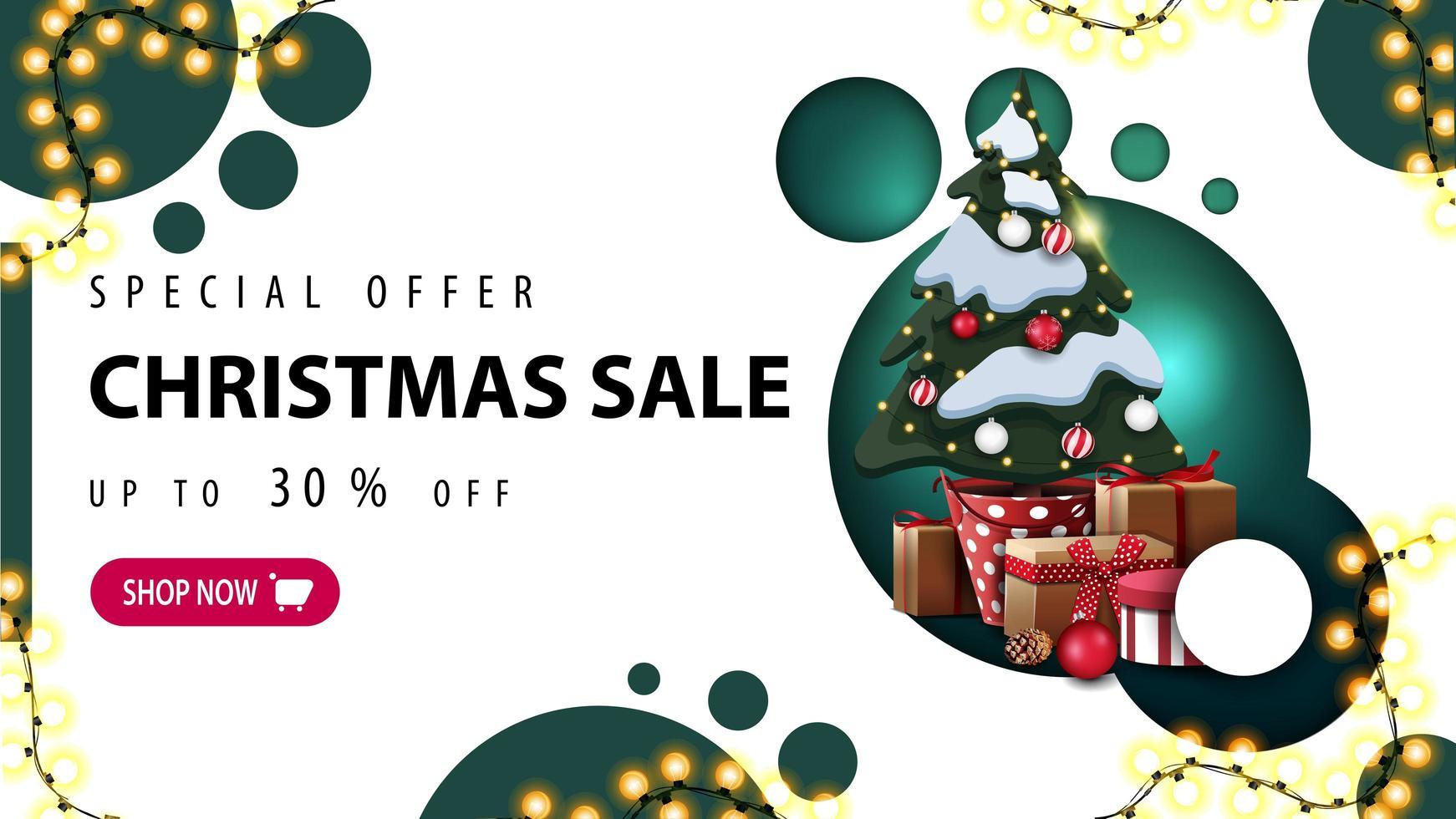 specialerbjudande, julförsäljning, upp till 30 rabatt, rabattbanner med modern design med gröna cirklar och julgran i en kruka med gåvor vektor
