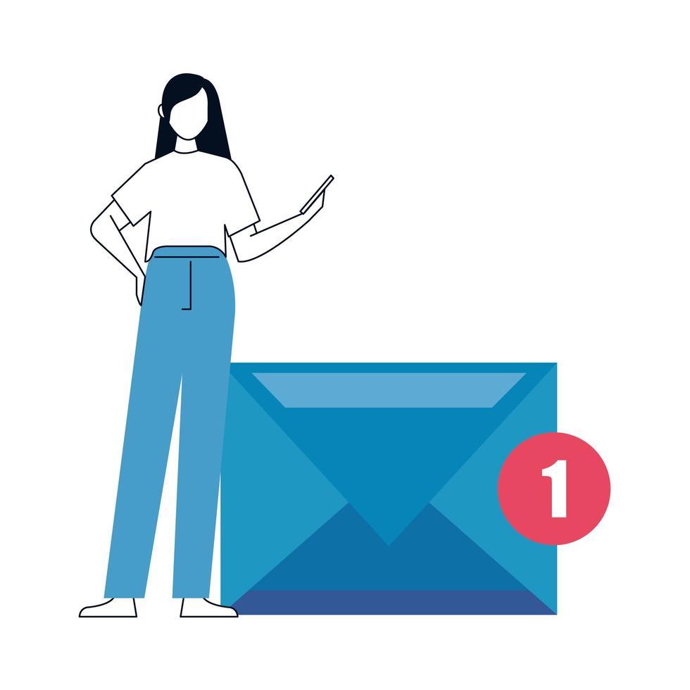 junge Frau mit Smartphone auf weißem Hintergrund, soziale Medien, Kommunikations-Online-Konzept vektor
