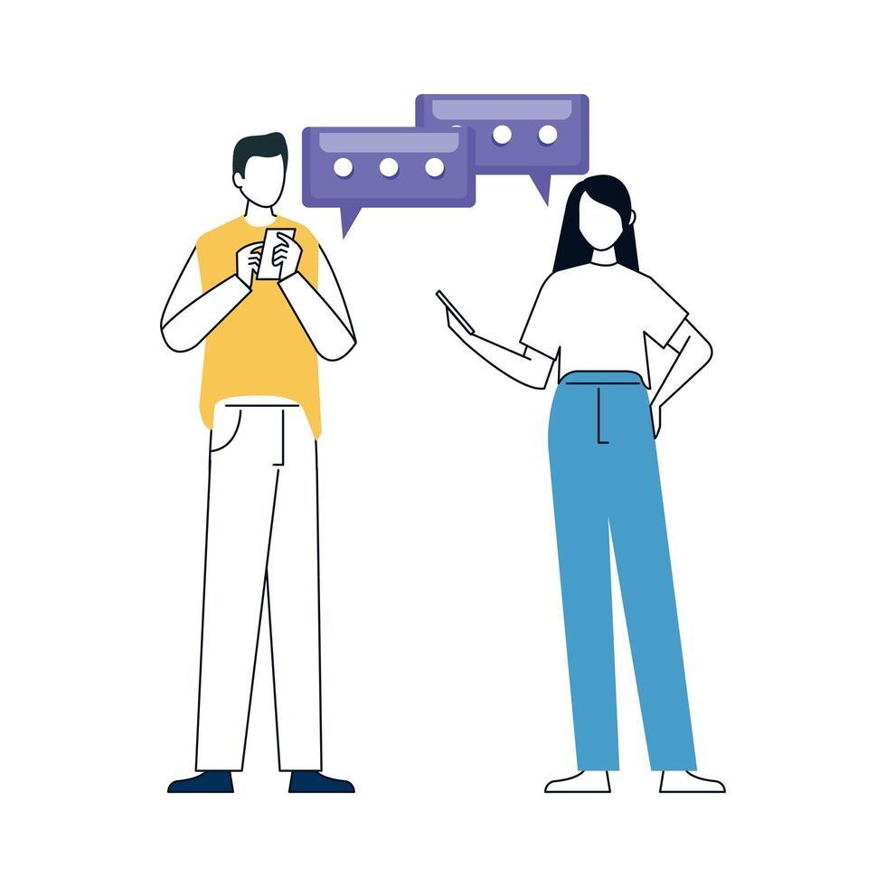 Paar mit Telefon, Smartphone-Gerät auf weißem Hintergrund vektor
