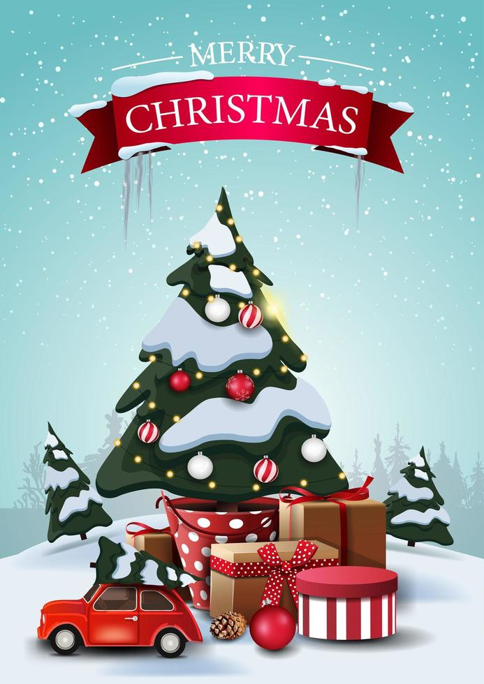 god jul, vertikalt vykort med tecknade granar, drivor, blå himmel, julgran i en kruka med gåvor och röd veteranbil som bär julgran vektor