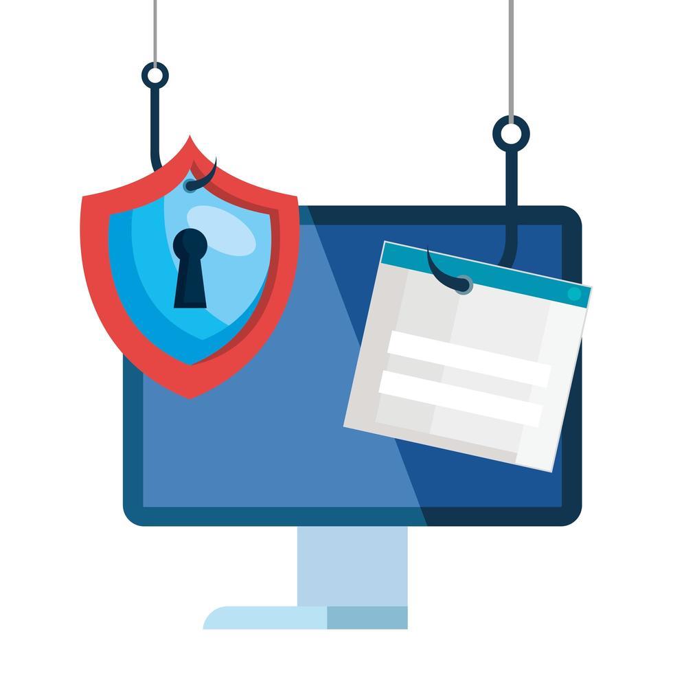 Daten-Phishing-Hacking-Online-Betrugskonzept mit Computertisch und Symbolhaken vektor