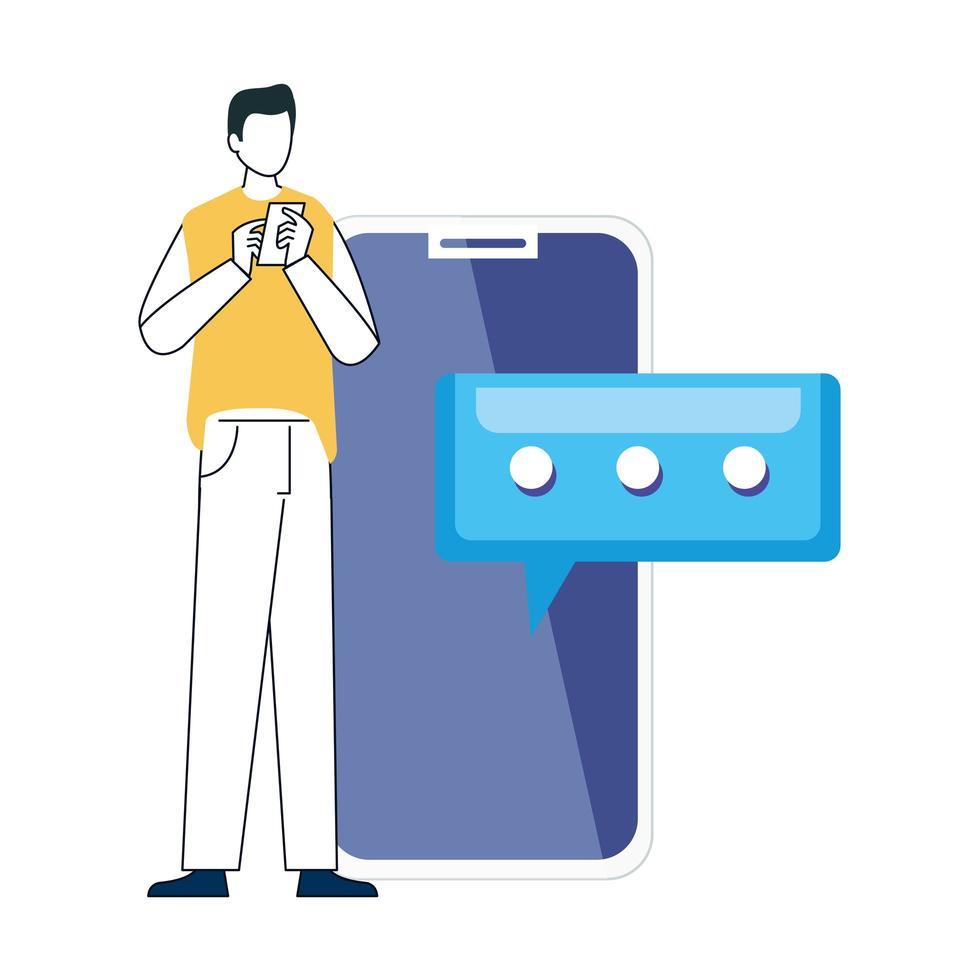junger Mann mit Smartphone auf weißem Hintergrund, soziale Medien, Kommunikations-Online-Konzept vektor