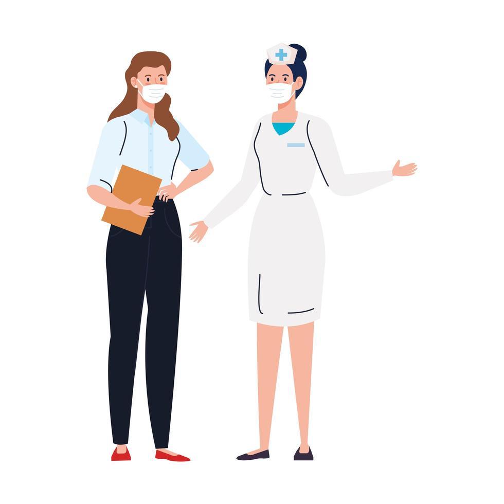 sjuksköterska med sekreterararbetare som använder ansiktsmask under covid 19 på vit bakgrund vektor