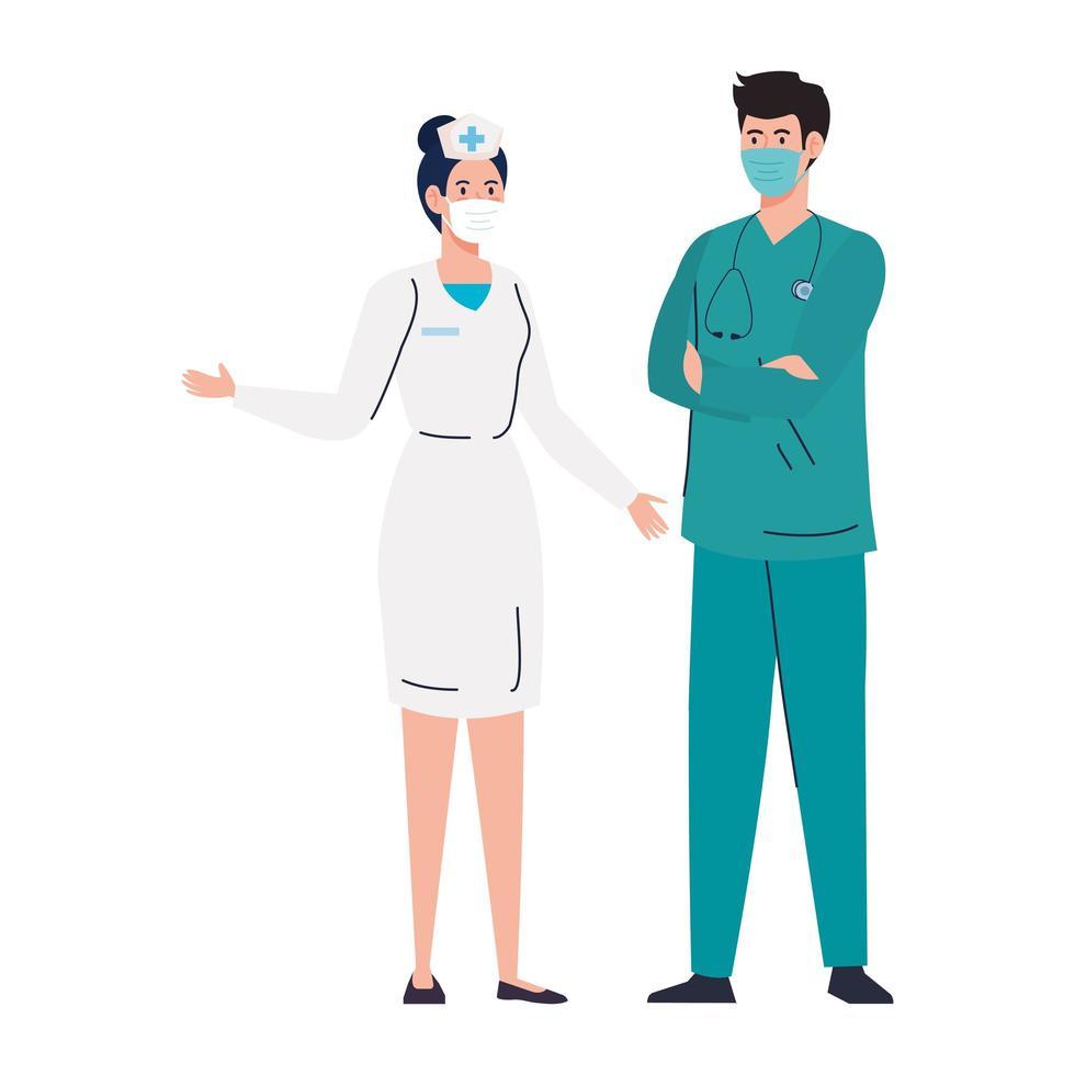 Krankenschwester mit Sanitäter unter Verwendung der Gesichtsmaske während covid 19 auf weißem Hintergrund vektor