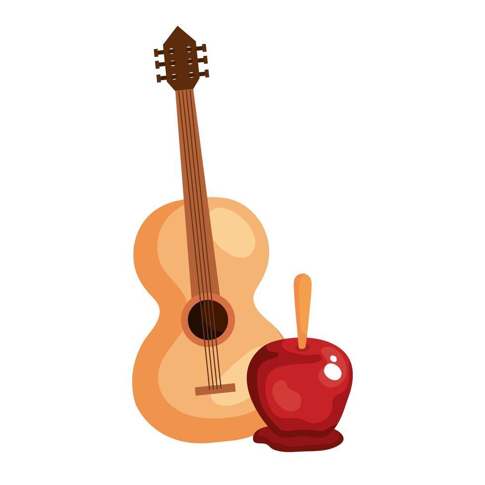 köstlicher Süßigkeitenapfel mit klassischer hölzerner Gitarre auf weißem Hintergrund vektor