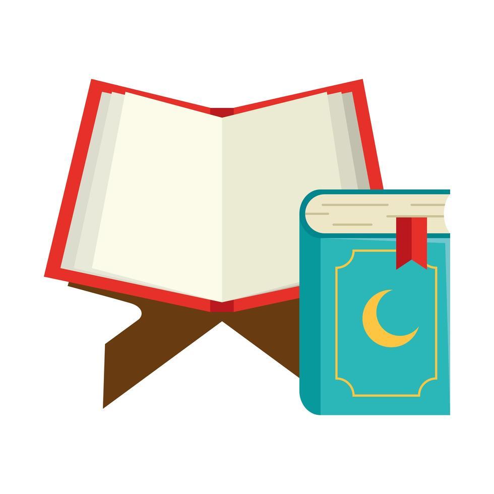 heilige Bücher des Korans auf dem Stand, muslimischer Feiertag, Ramadan-Kareem-Konzept vektor
