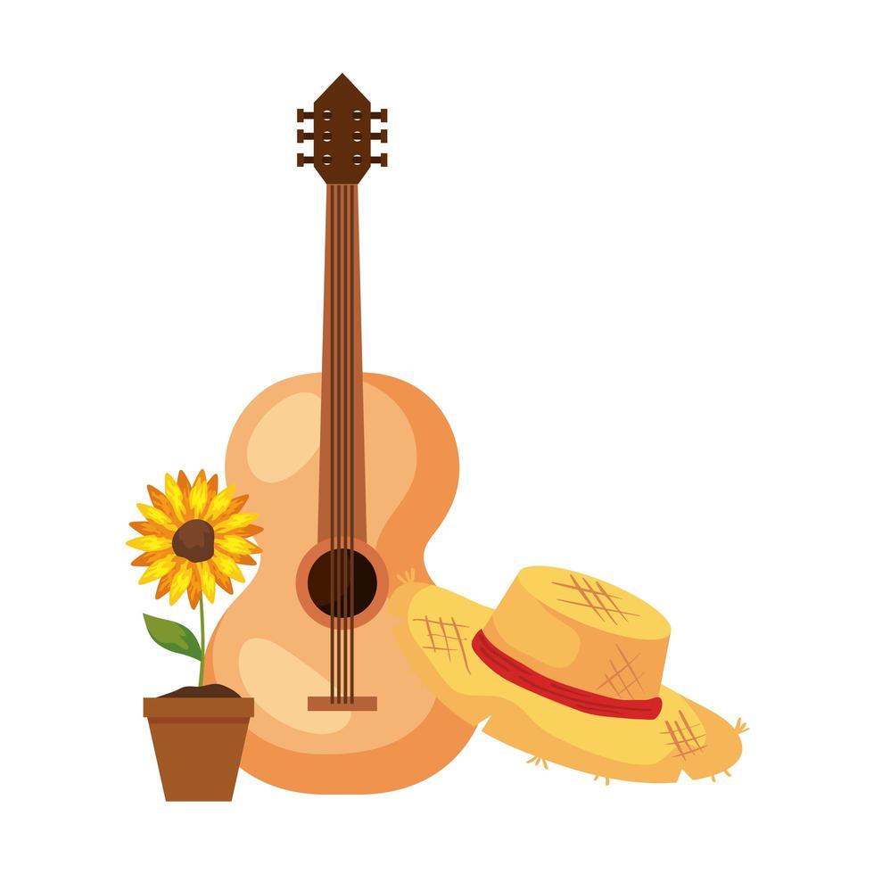 Sonnenblume mit Hutgeflecht und klassischer Holzgitarre auf weißem Hintergrund vektor