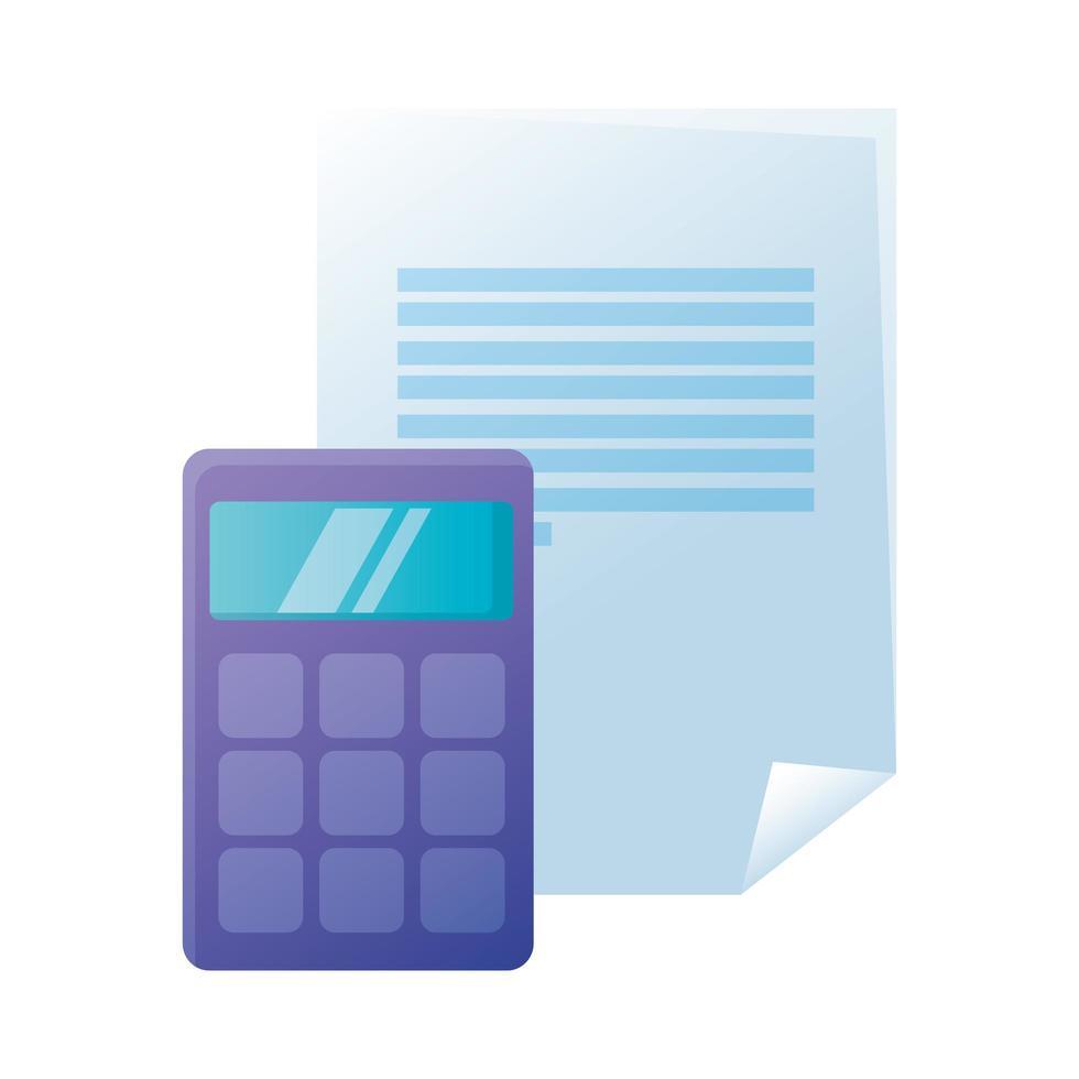 isoliertes Taschenrechner- und Dokumentpapiervektordesign vektor