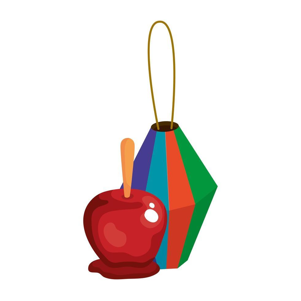 Papierlaterne mit Süßigkeitenapfel auf weißem Hintergrund vektor