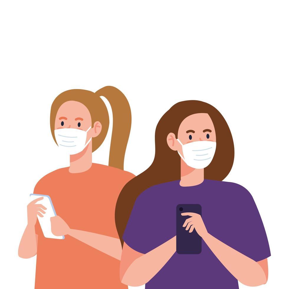 Frauen mit Masken, die Smartphone-Vektorentwurf halten vektor