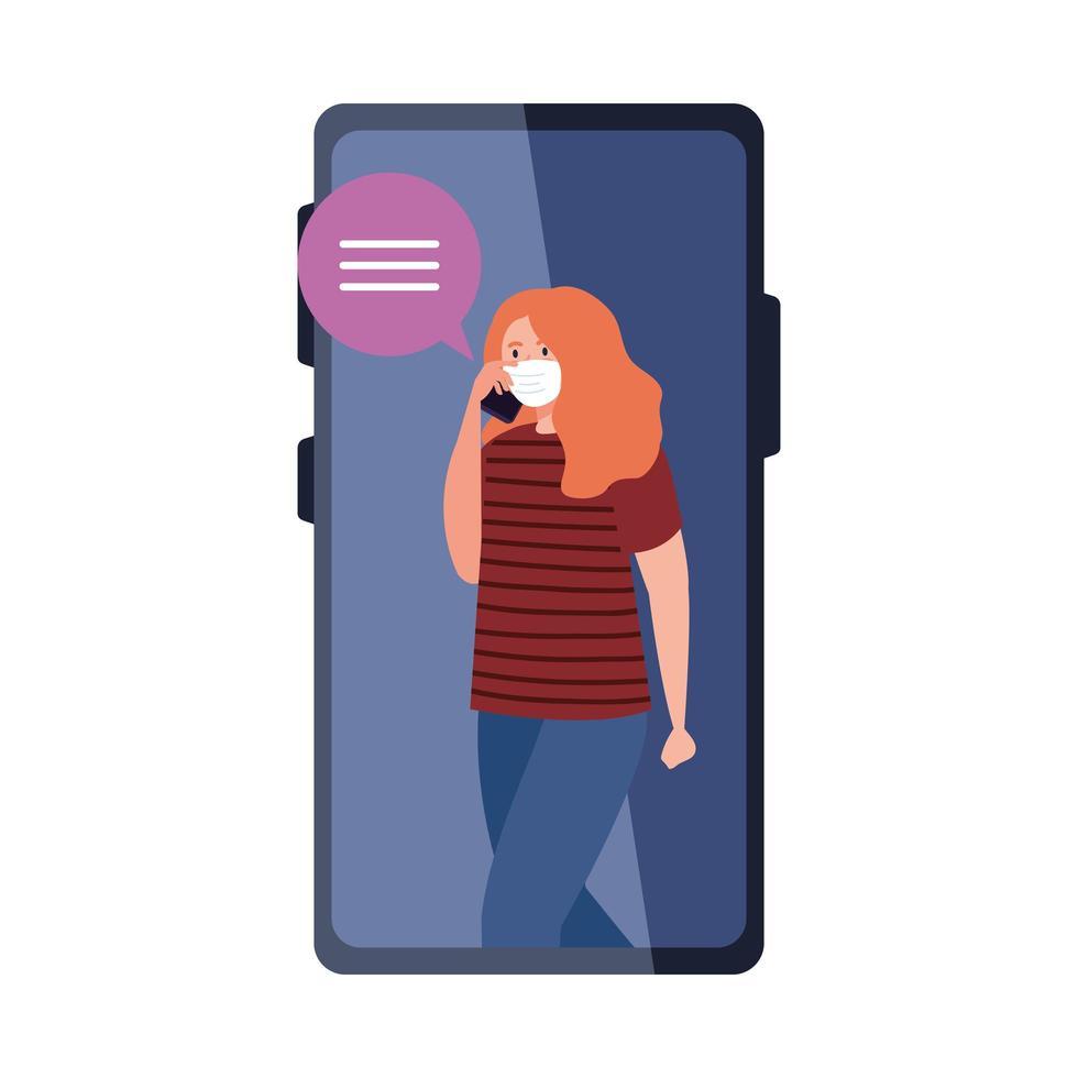 Frau mit medizinischer Maske, die Smartphone und Blasenvektorentwurf hält vektor