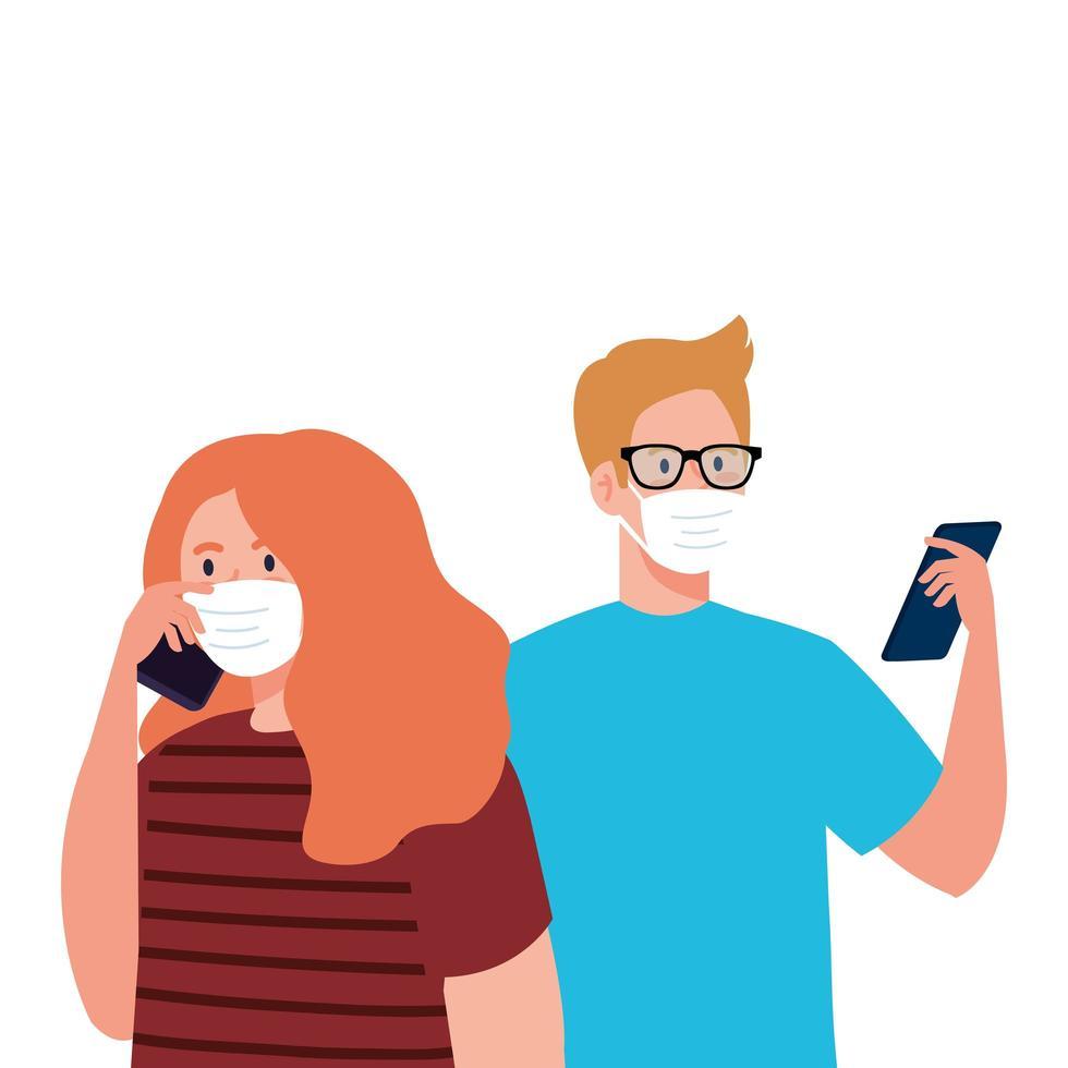 Frau und Mann mit medizinischen Masken, die Smartphone-Vektorentwurf halten vektor