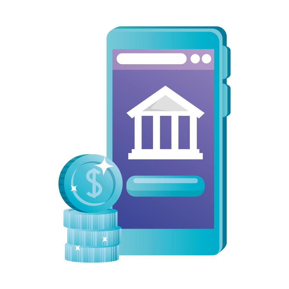 isoliertes Smartphone mit Bank- und Münzenvektorentwurf vektor