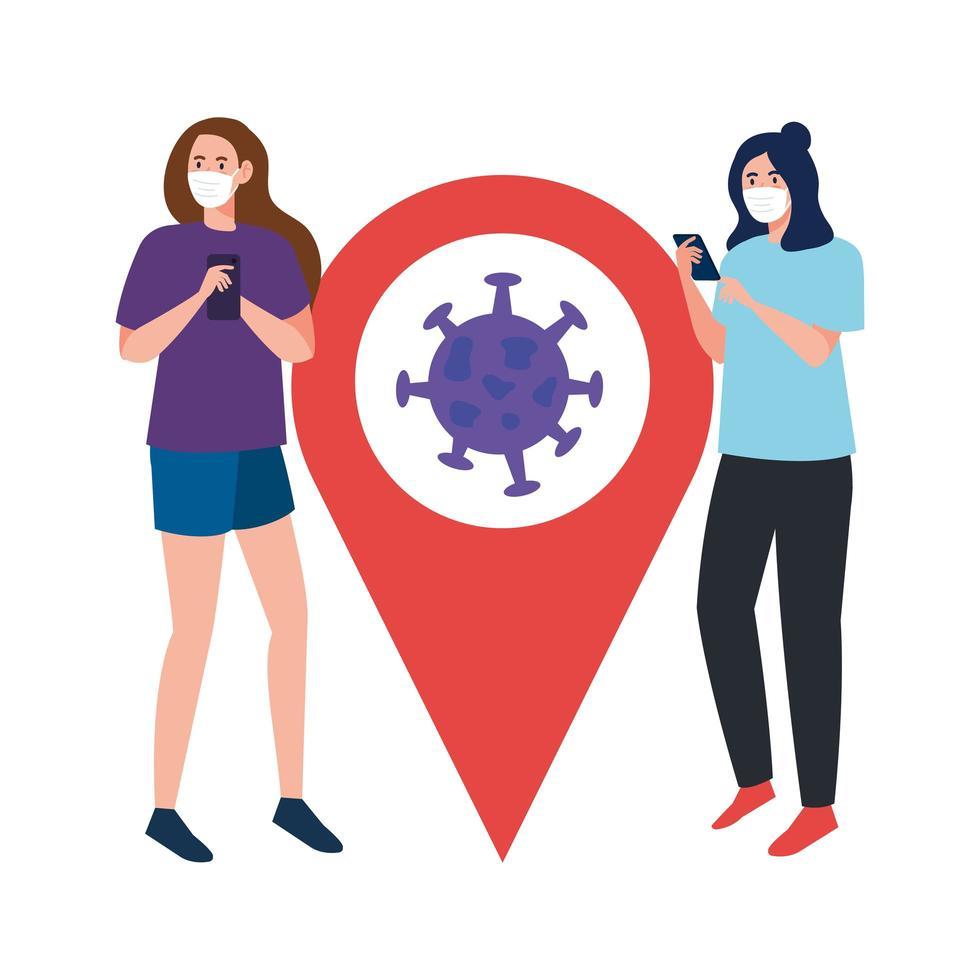 Frauen mit Masken Smartphone und Covid 19 Virus in GPS Mark Vektor-Design vektor