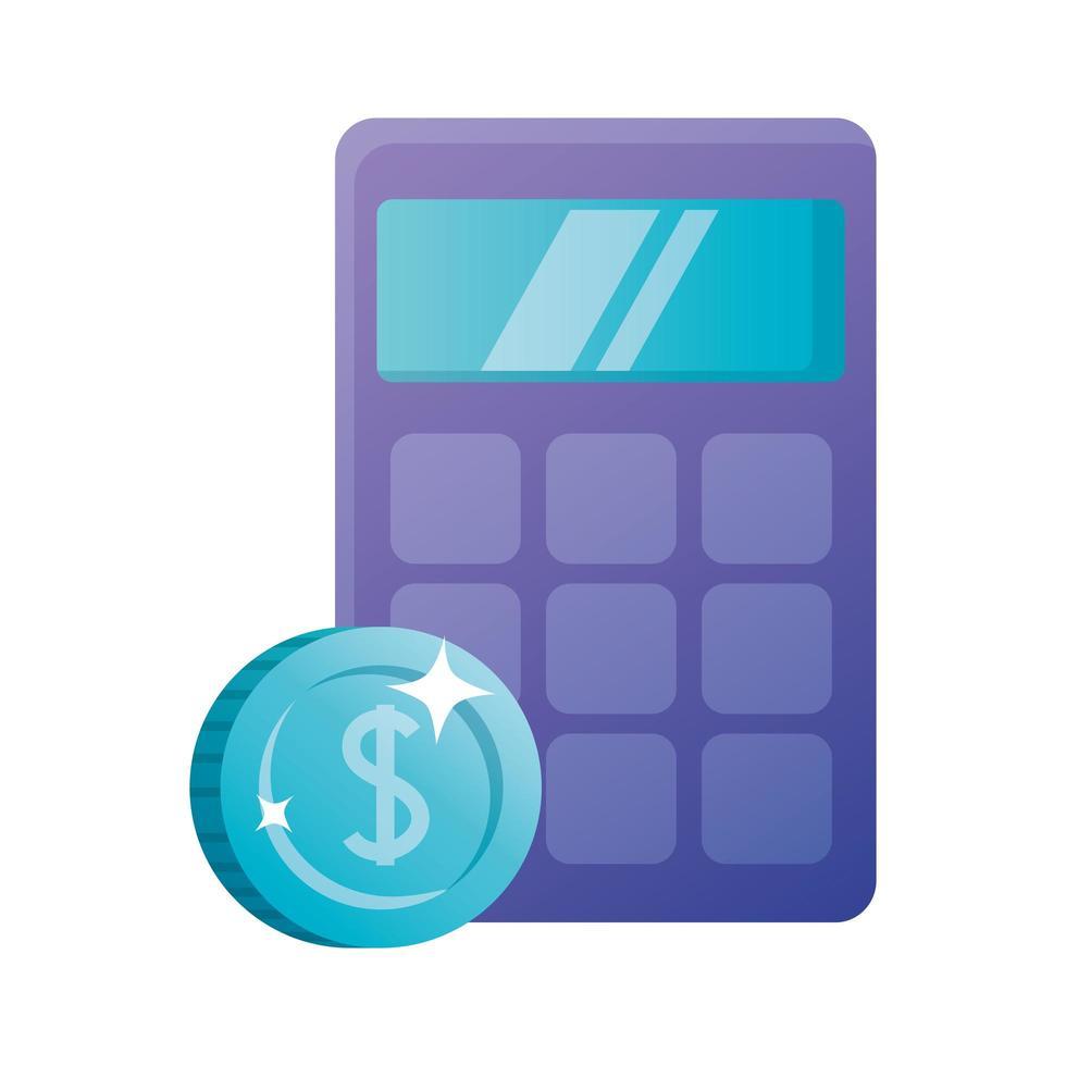 isolerad miniräknare och myntvektordesign vektor