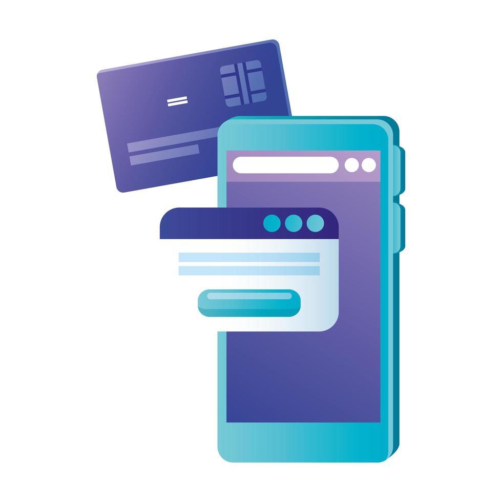 isoliertes Smartphone mit Kreditkarten- und Website-Vektordesign vektor