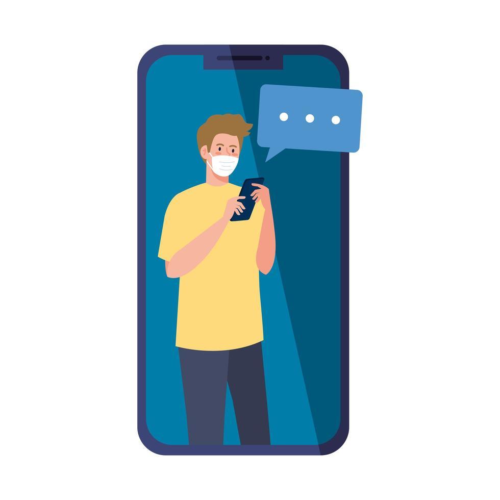 Mann mit medizinischer Maske, die Smartphone und Blasenvektorentwurf hält vektor