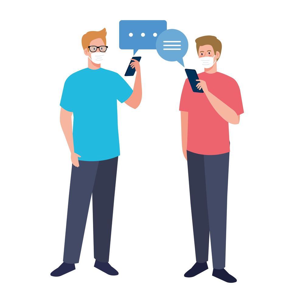 män med masker som håller smartphone och kommunikation bubblar vektor design