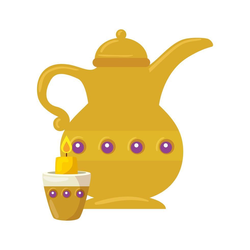 goldene arabische Teekanne mit Kerze, arabisches Kulturerbe auf weißem Hintergrund vektor
