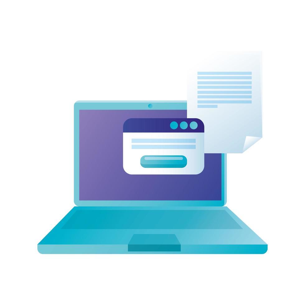 isolierter digitaler Laptop mit Website- und Dokumentvektorentwurf vektor