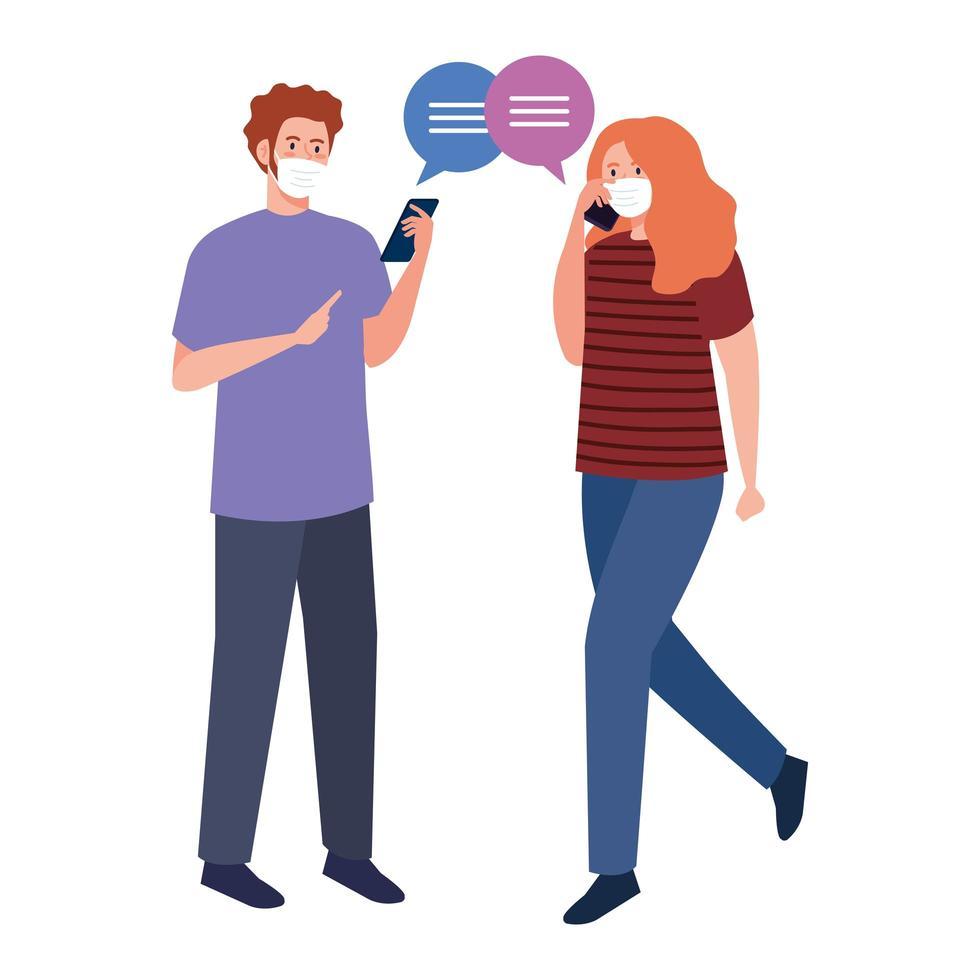 Frau und Mann mit medizinischen Masken, die Smartphone und Blasenvektordesign halten vektor