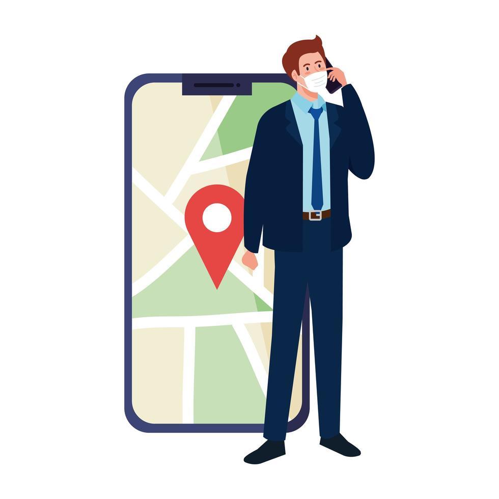 Mann mit Maske, die Smartphone und GPS-Markierung auf Kartenvektorentwurf hält vektor