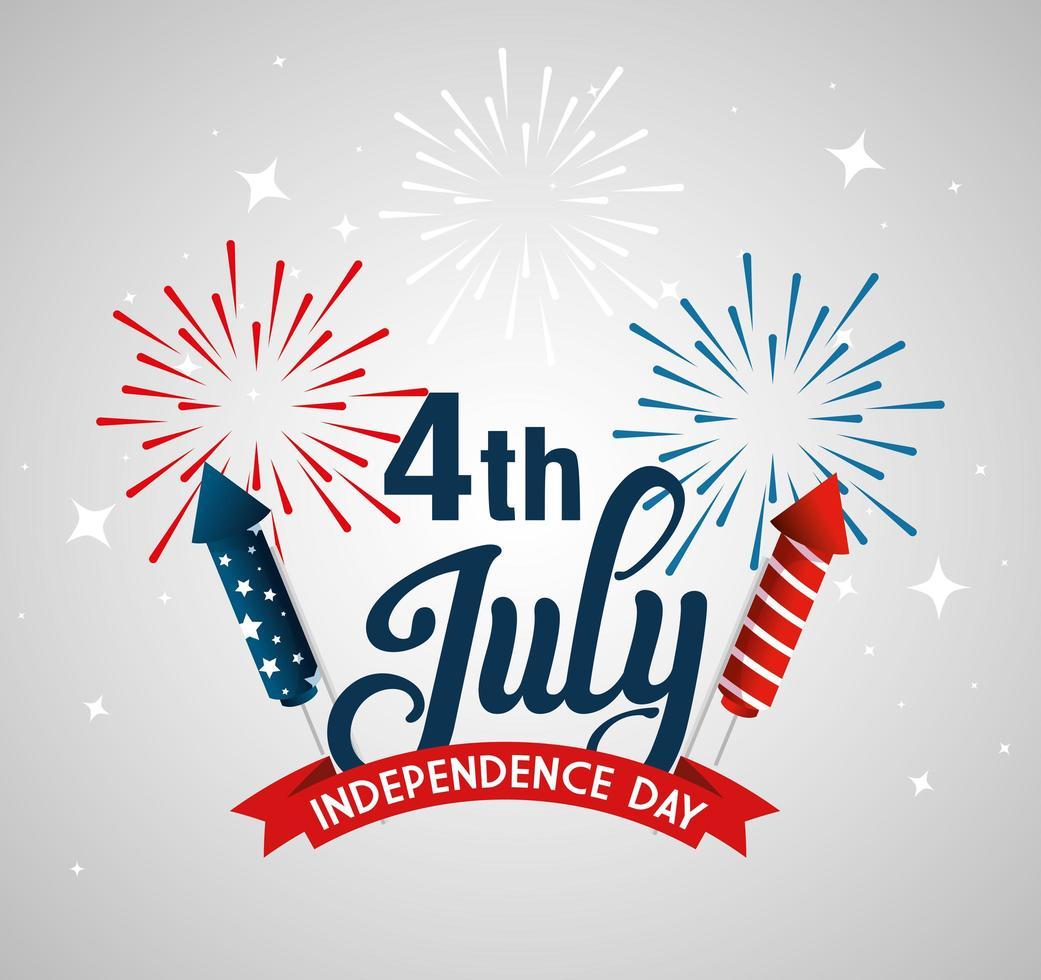 USA Feuerwerk mit Band der Unabhängigkeit Tag Vektor-Design vektor