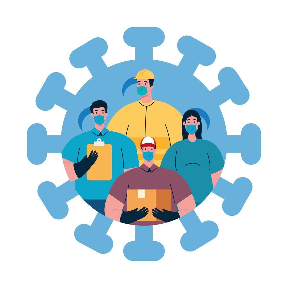 Menschen Arbeiter mit Uniformen und Arbeiter Masken Vektor-Design vektor