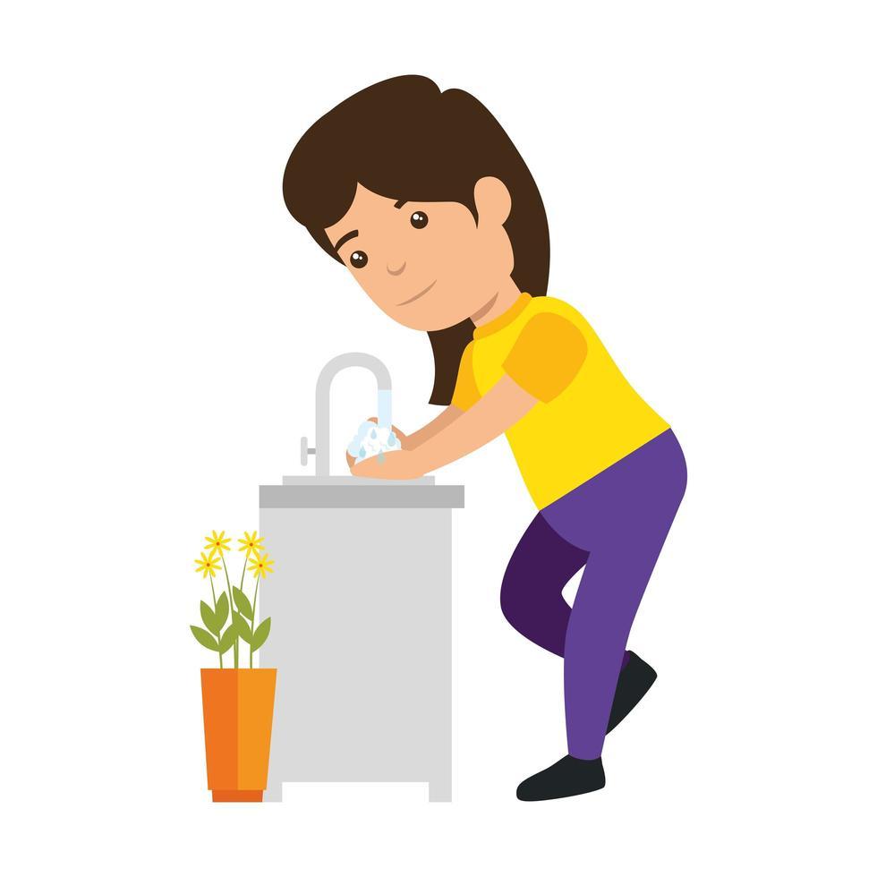 Mädchen Cartoon Waschen Hände Vektor-Design vektor