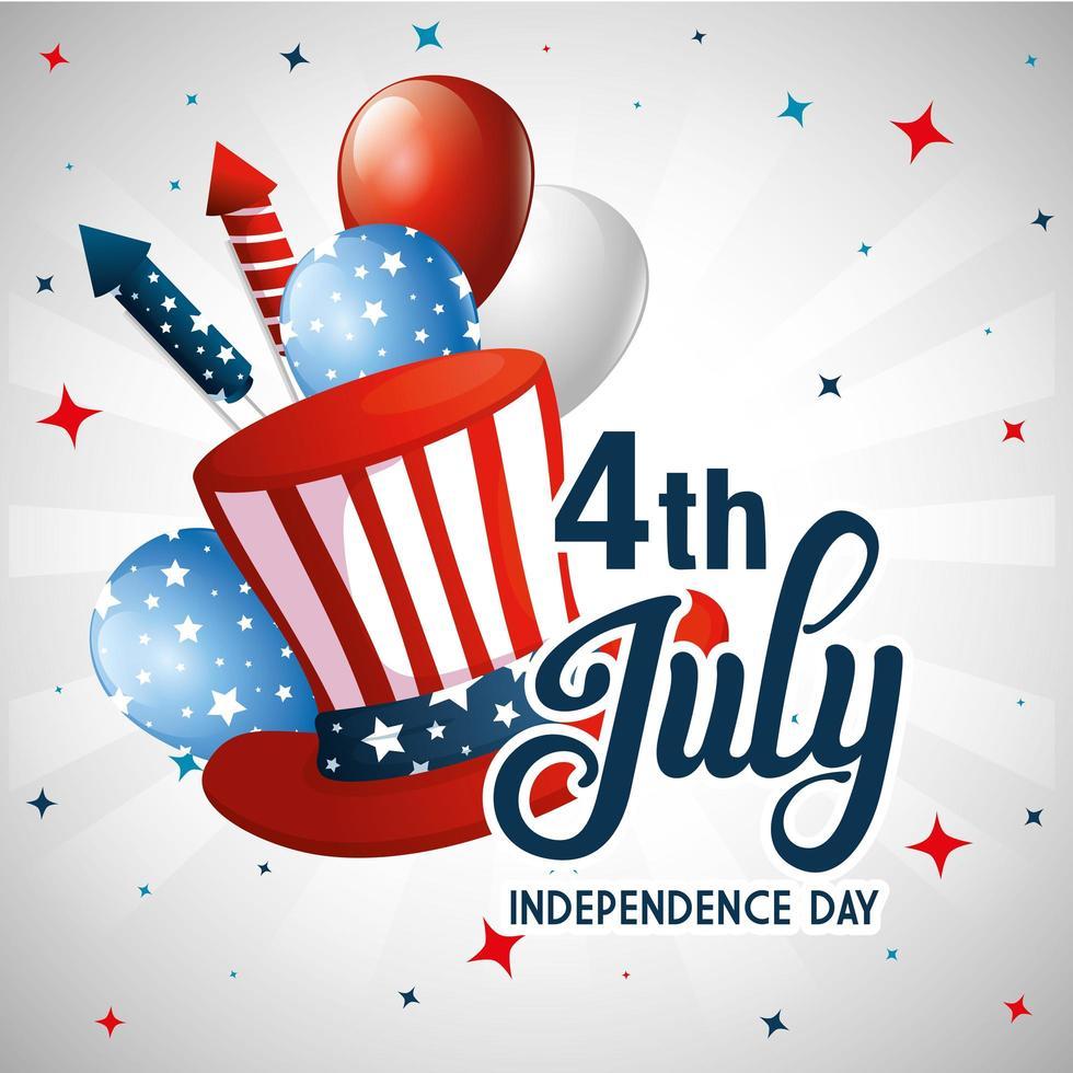 USA Hut Ballons und Feuerwerk der Unabhängigkeit Tag Vektor-Design vektor