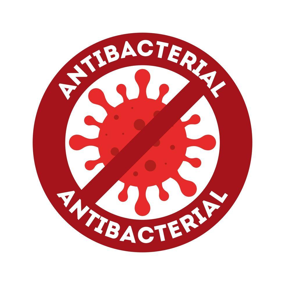 antibakterielles Verbot mit Covid 19-Virusvektordesign vektor