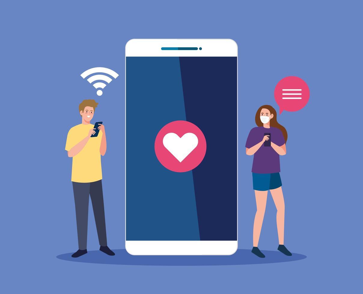 Frau und Mann mit der medizinischen Maske, die Smartphone und Herzvektorentwurf hält vektor