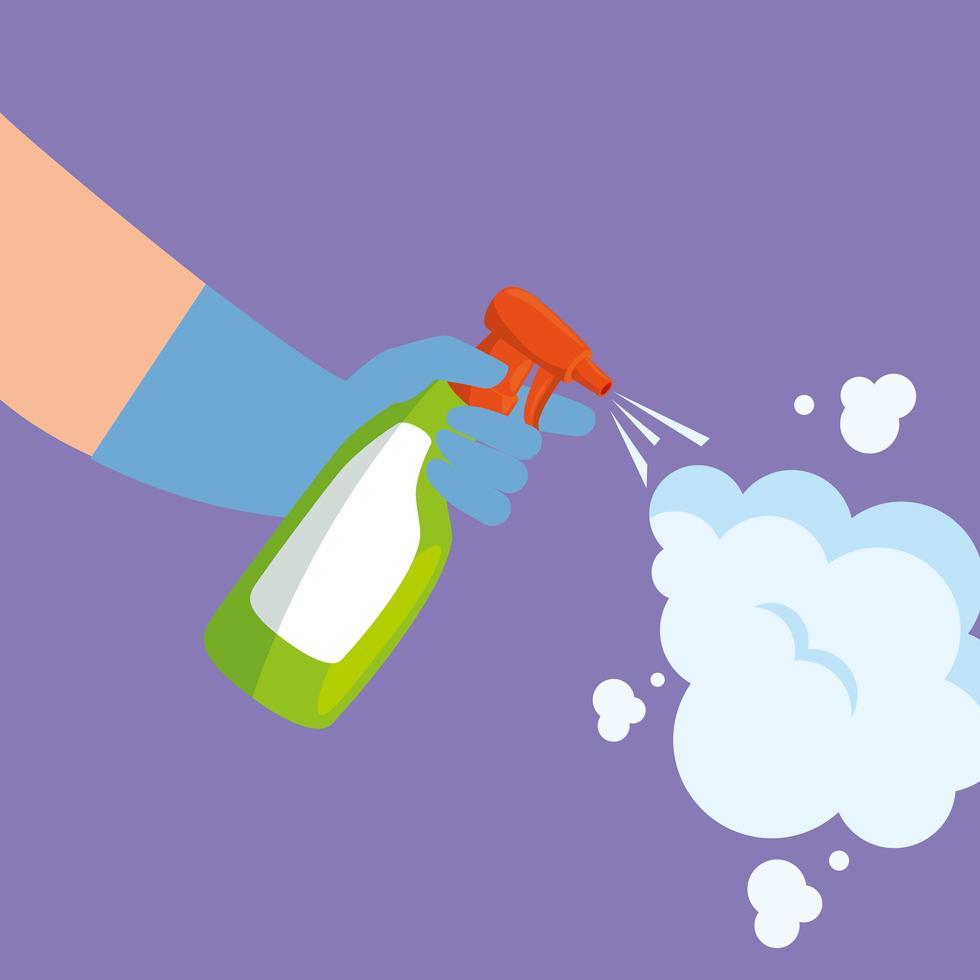 Hände halten Spray und Rauchvektorentwurf vektor
